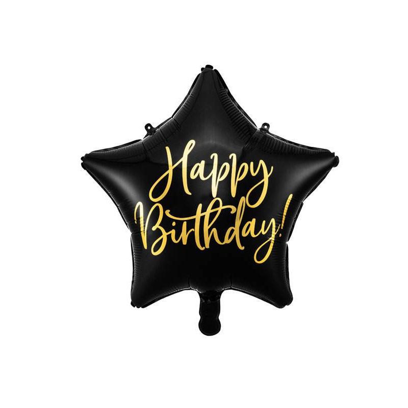 Palloncino foil Happy Birthday 40cm nero a forma di stella FB93-010