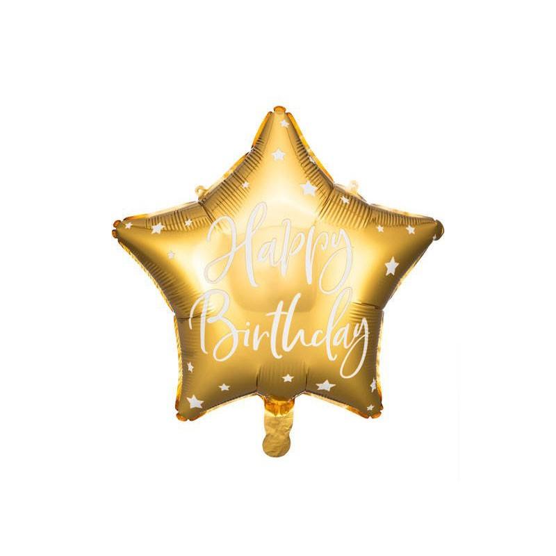 Palloncino foil Happy Birthday 40cm oro a forma di stella FB93-019