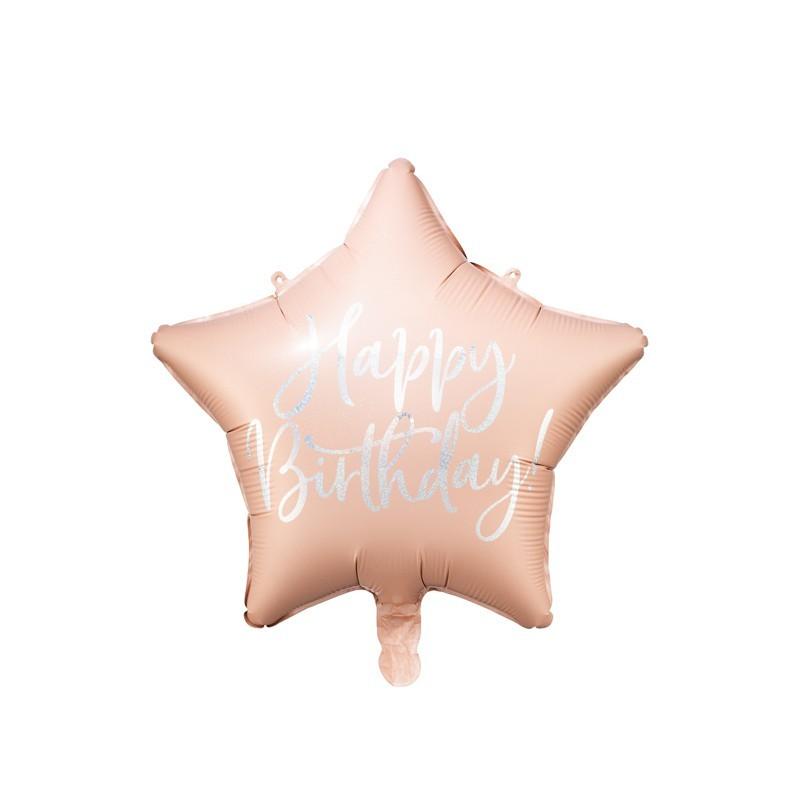 Palloncino foil Happy Birthday 40cm rosa cipria forma di stella FB93-081PJ