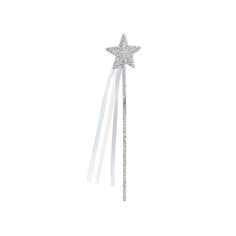 bacchette magiche a forma di stella argento  con glitter – 28705 16 cm 12 pz.