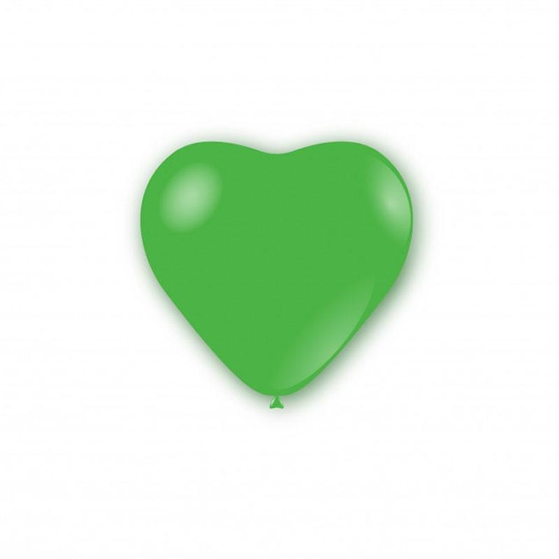 100 Palloncini pastello cuore 11 - 25cm Verde CR 22