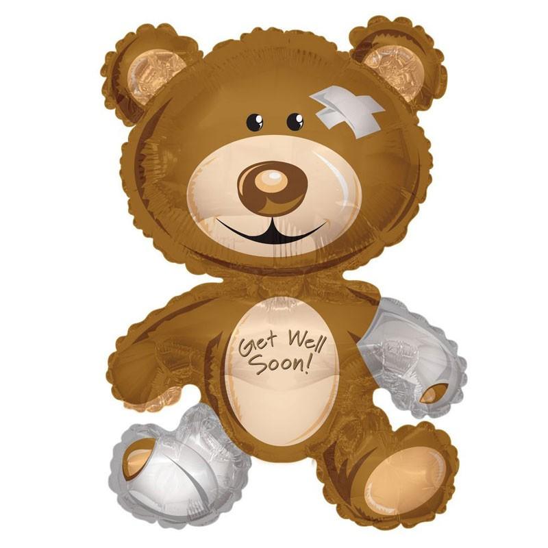 Palloncino Mylar a forma di orsetto con scritta Get Well Soon 36\'\' 90 cm 19157-36