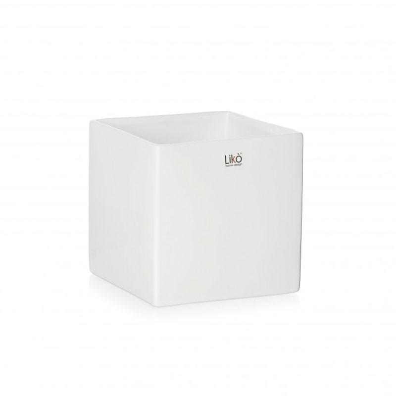 vaso in ceramica cubo bianco 10 , 5 cm CR35/10