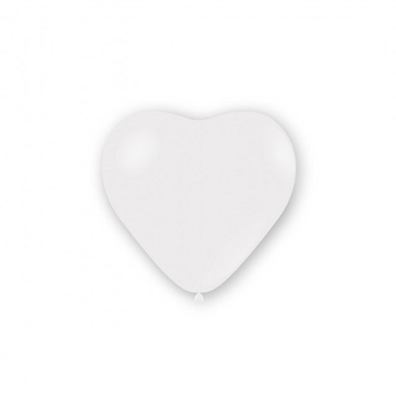 100 Palloncini pastello cuore 11 - 25cm bianchi CR 10