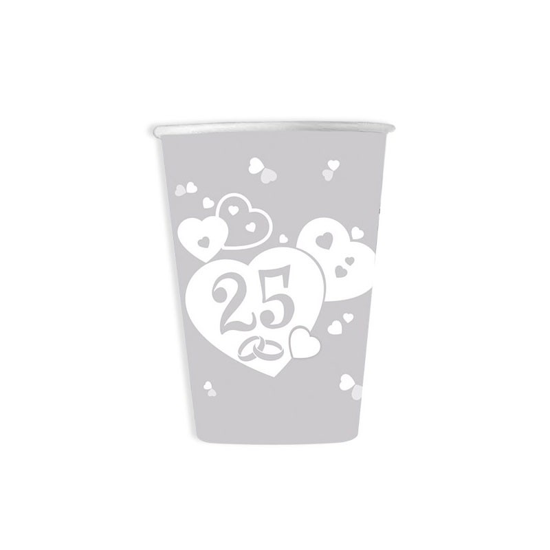 Bicchieri nozze d\'argento 25 anni 6 pz. 61727