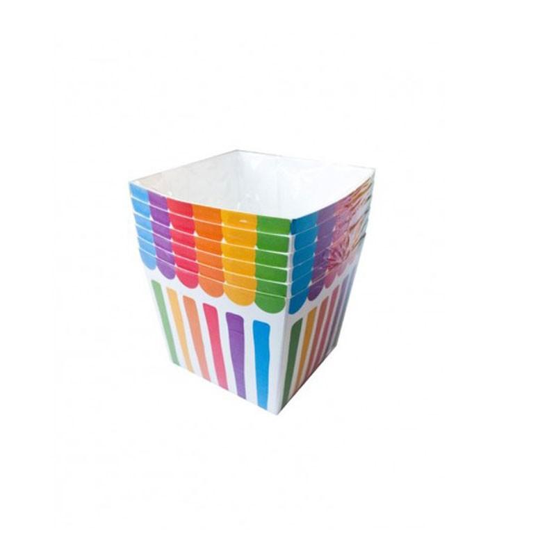 Contenitori Strisce Colorate 6721 6 pz 8x8x7 cm