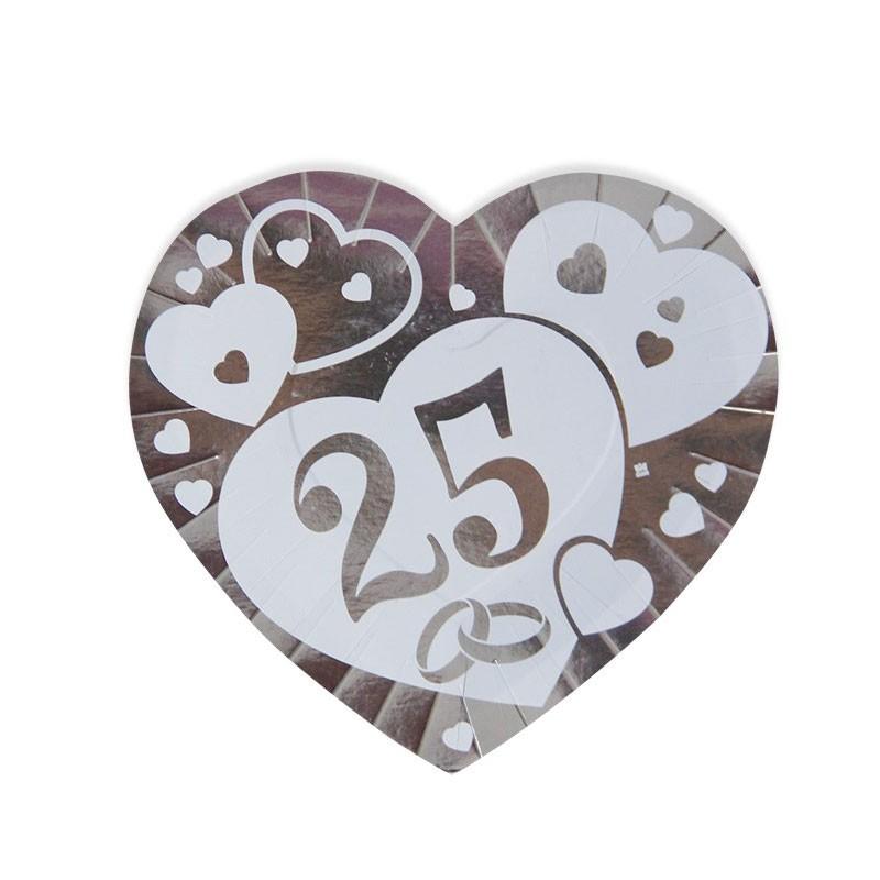 Piatti nozze d\'argento 25 anni cuore 6 pz. 61726