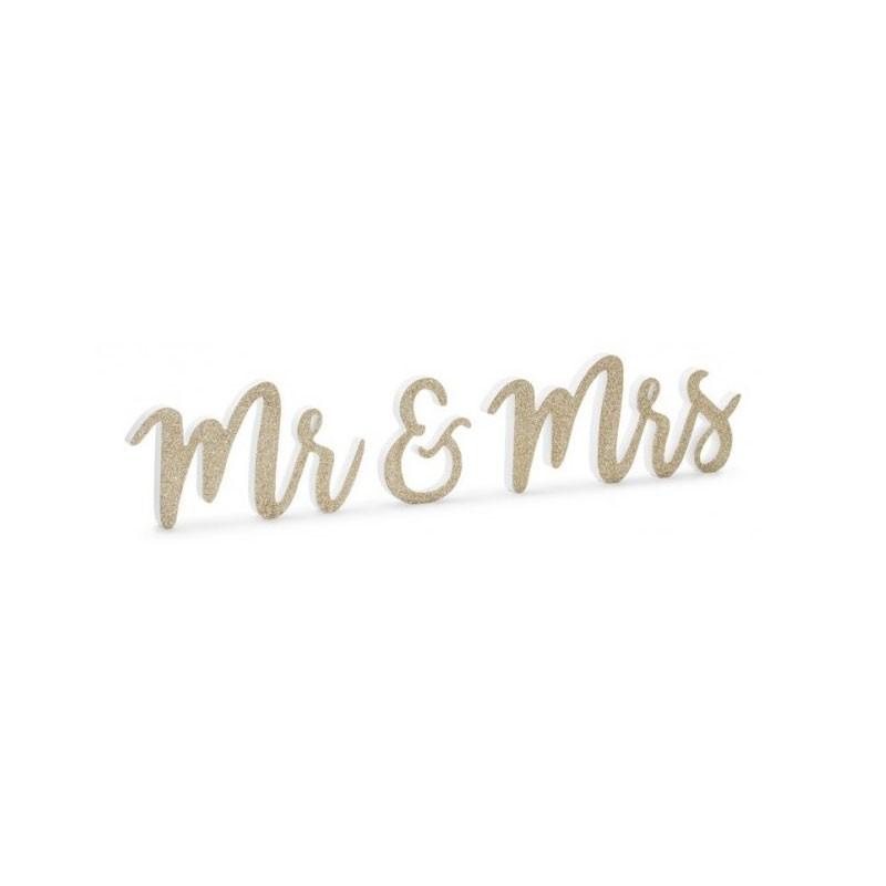 scritta in legno Mr & Mrs 50x10 cm glitter oro DN6-008-019B