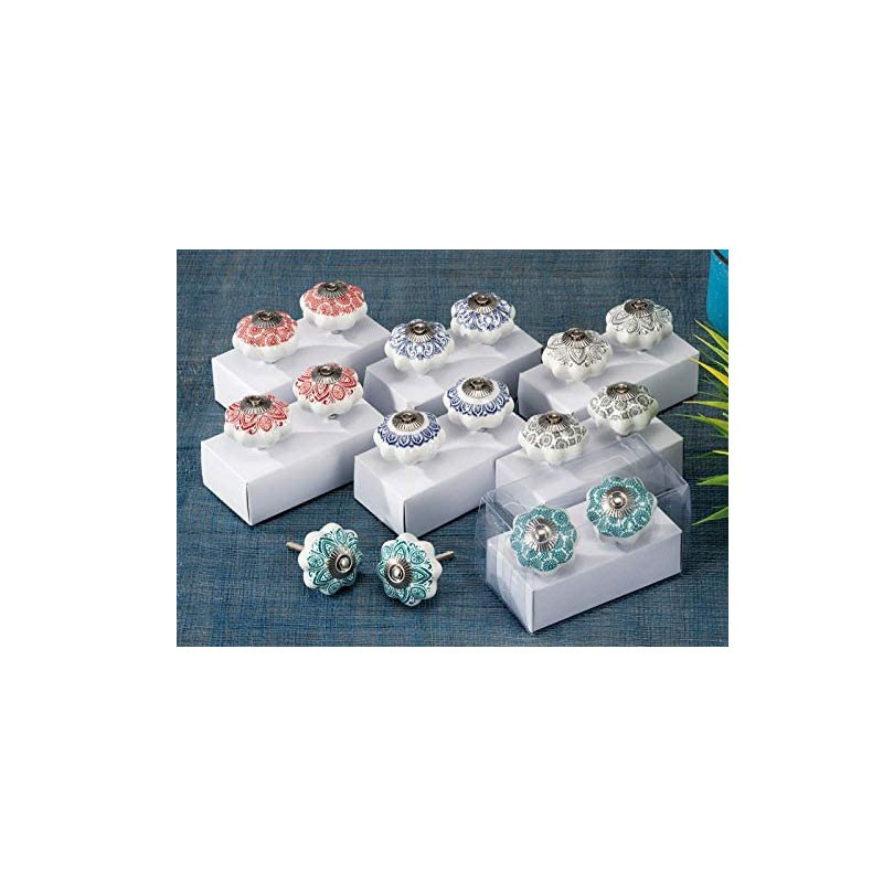 set 2 pomelli in ceramica d.4,5cm 42692 colori assortiti