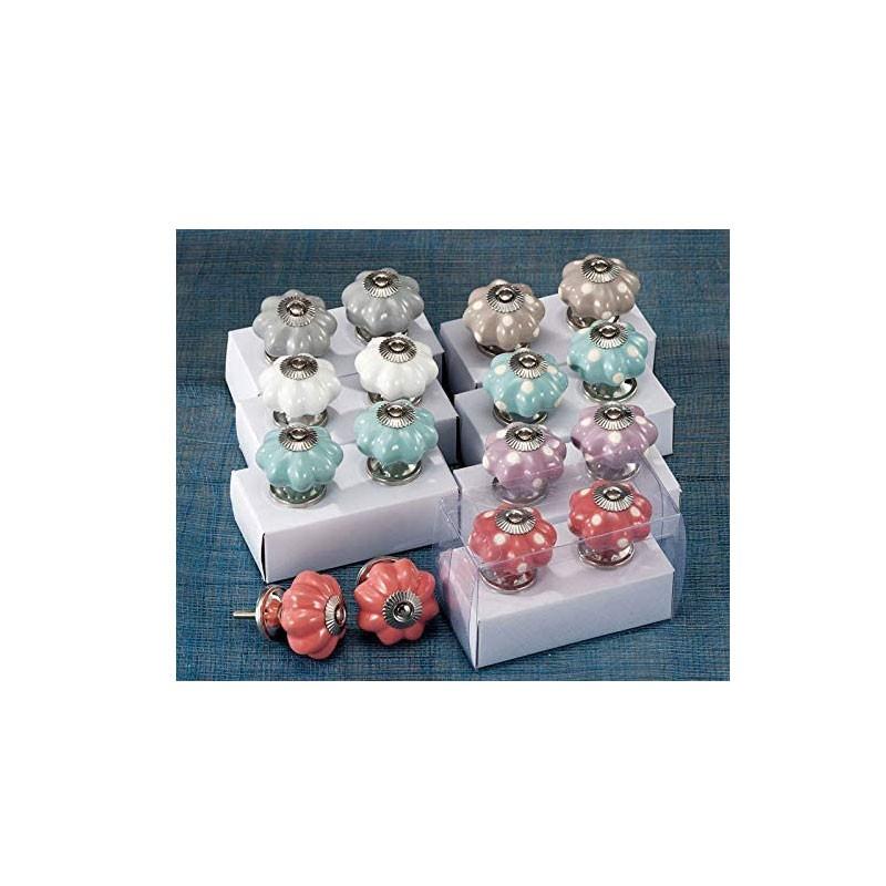 set 2 pomelli in ceramica d.4,5cm 42693 colori assortiti