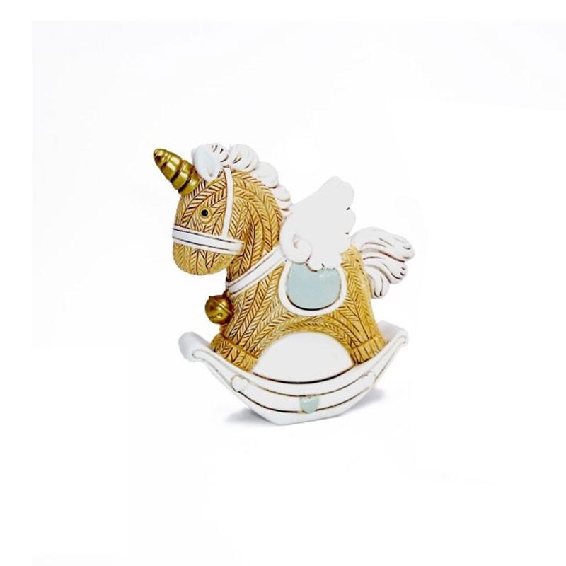 Cavallo a dondolo celeste in resina 6 x 7,5 cm 117492B  8 pz.