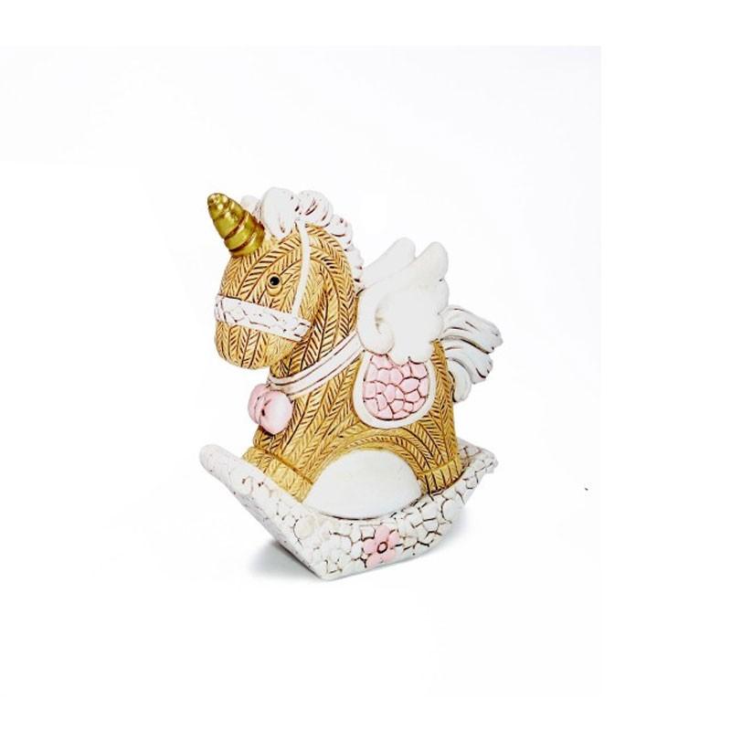 Cavallo a dondolo rosa in resina 6 x 7,5 cm 117492P  8 pz.