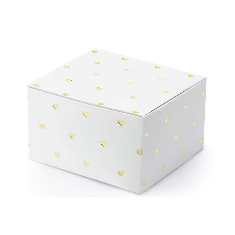 Scatoline bianchi con cuori oro - 20 pz