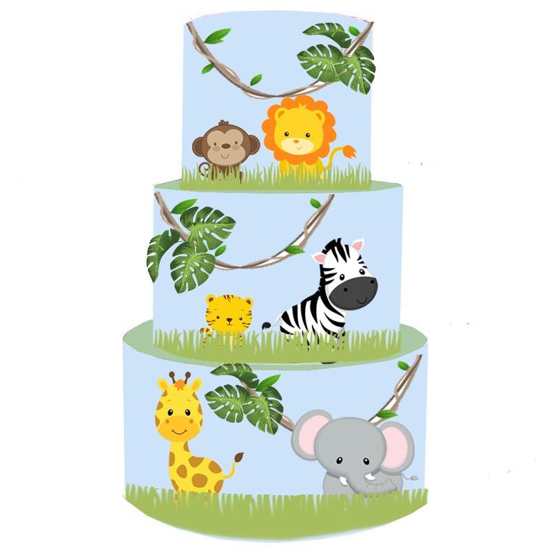 Torta Scenografica in vinile animali della giungla 36cm h x 25 cm diametro