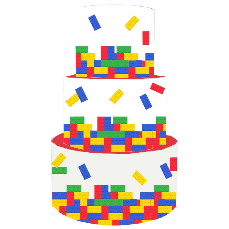 Torta Scenografica in vinile lego block 36cm h x 25 cm diametro