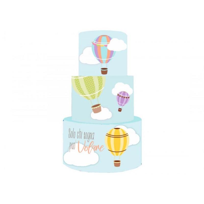 Torta Scenografica in vinile mongolfiera colorata 36cm h x 25 cm diametro