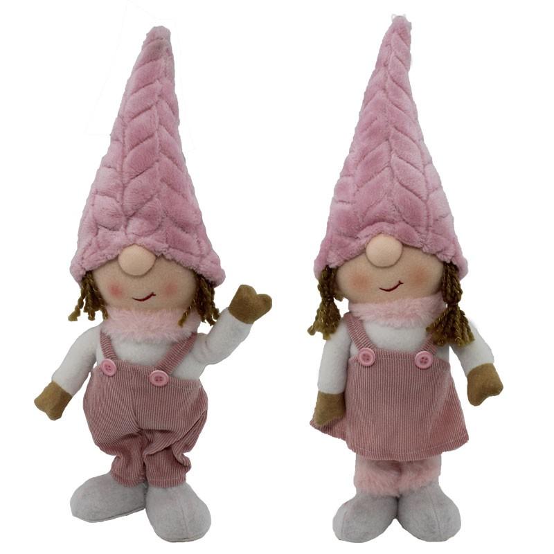 gnomo natalizio in tessuto rosa modelli assortiti 38 cm 61523