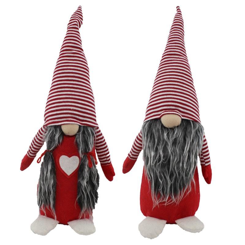 gnomo natalizio in tessuto rosso 61301 modelli assortiti 45 cm