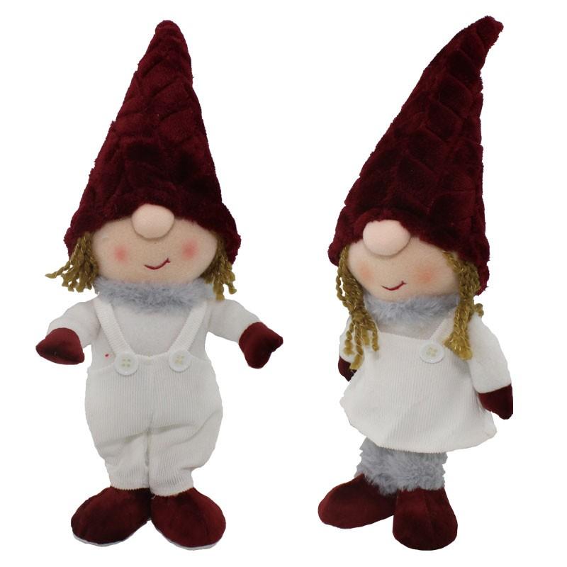 gnomo natalizio in tessuto rosso modelli assortiti 38 cm 61547