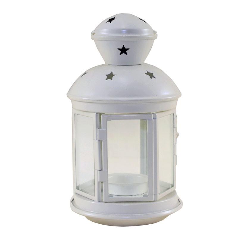 lanterna bianca in metallo 22 x 13 x 13 cm 30667