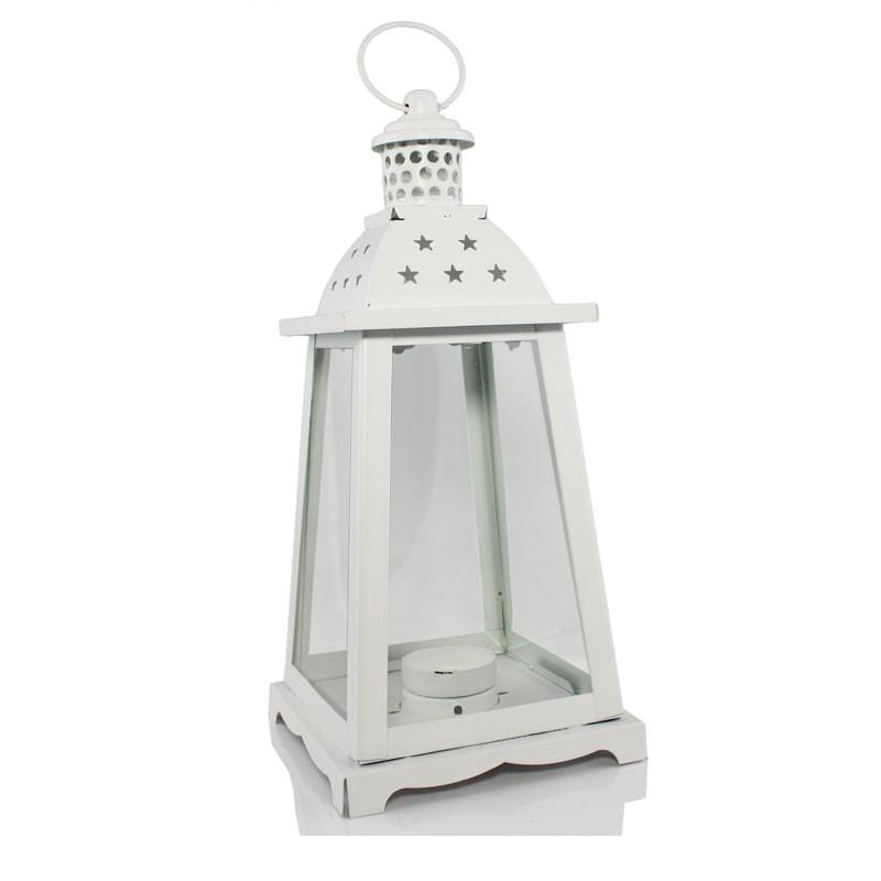lanterna bianca in metallo e vetro 0607