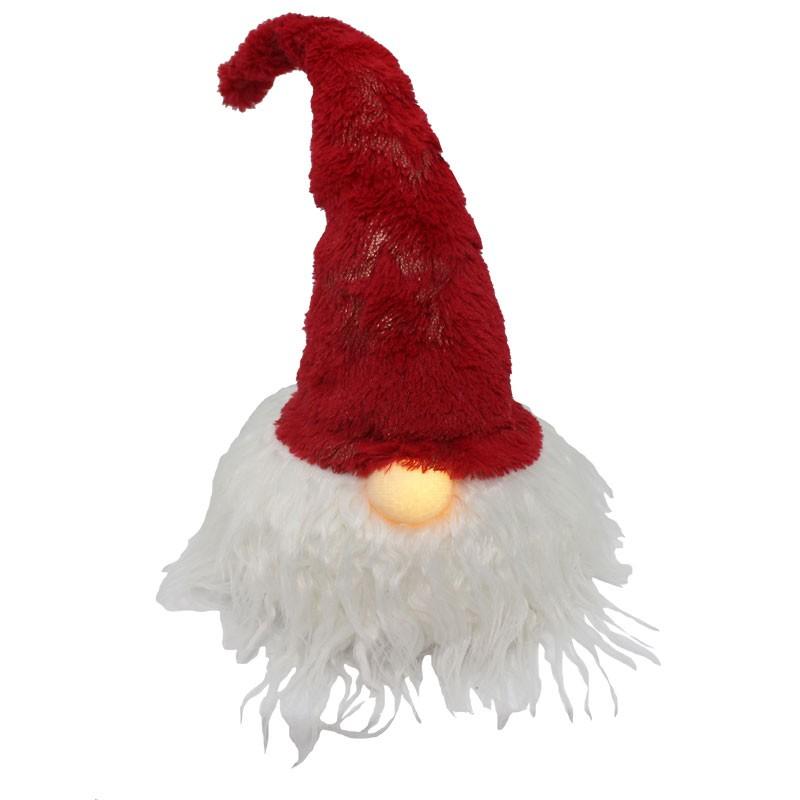 testa gnomo rosso con naso luminoso 64302 42 cm