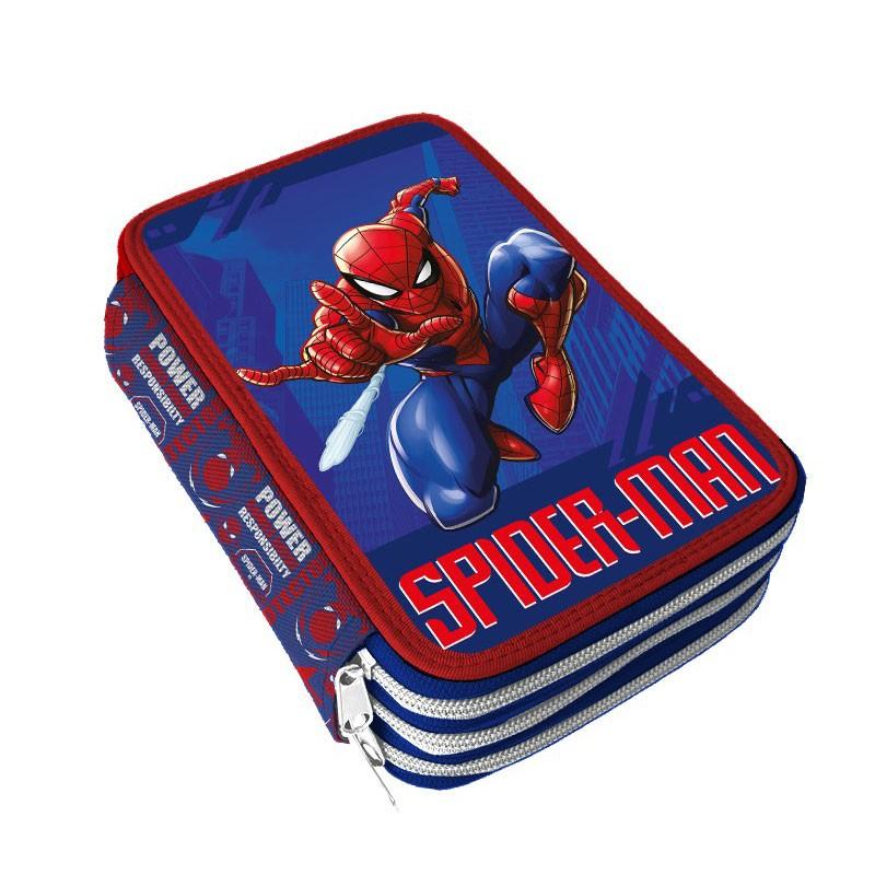 Astuccio 3 zip spiderman colori Giotto 19,5 x 12,5 x 6 cm SP0720