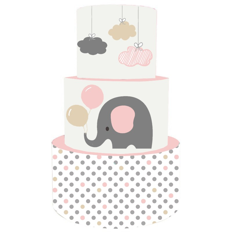 Torta Scenografica in vinile elefantino rosa 36 cm h x 25 cm diametro