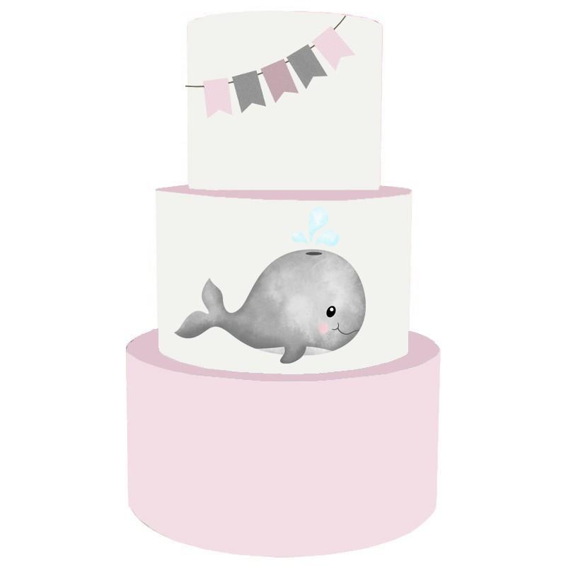 Torta Scenografica in vinile balena rosa 36 cm h x 25 cm diametro