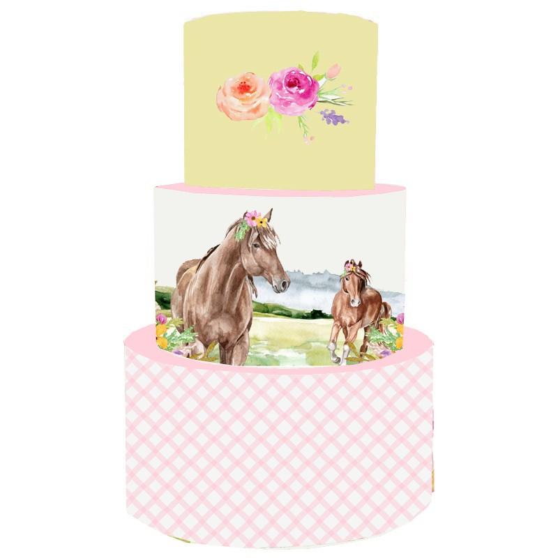 Torta Scenografica in vinile cavalli rosa 36 cm h x 25 cm diametro