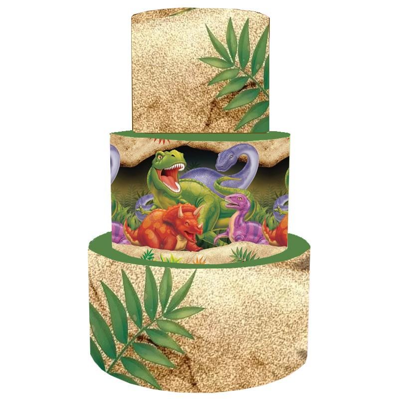 Torta Scenografica in vinile dinosauri 36 cm h x 25 cm diametro