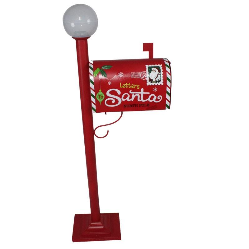 Cassetta Postale Natalizia - Porta lettere per Babbo natale in metallo rosso luminoso 82273 115 cm
