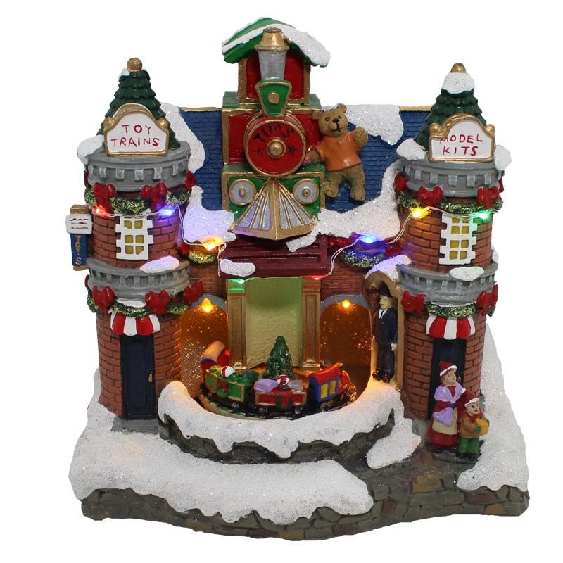 giostrina scena natalizia con movimento led e musica 67051 30 x 22 x 25 cm