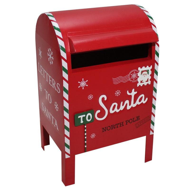 Portalettere natalizio in metallo rosso 61578 21 x 19 x 34 cm