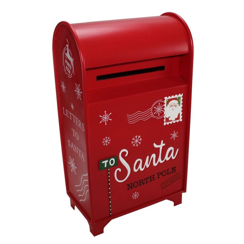 Portalettere natalizio in metallo rosso 61592 35 x 22 x 62 cm