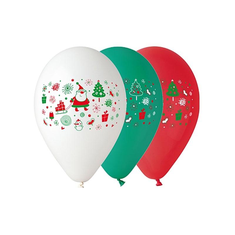 5 Palloncini Babbo Natale rosso, verde e bianco 12 GB/PG24