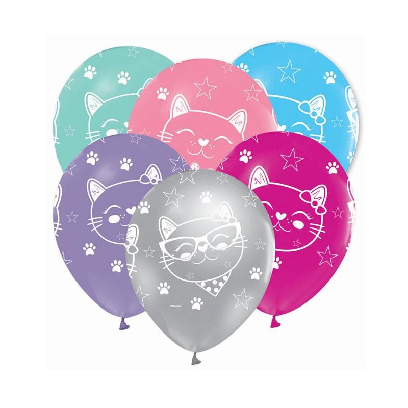 5 palloncini gattini colori assortiti 12\'\' GZ-KOT5
