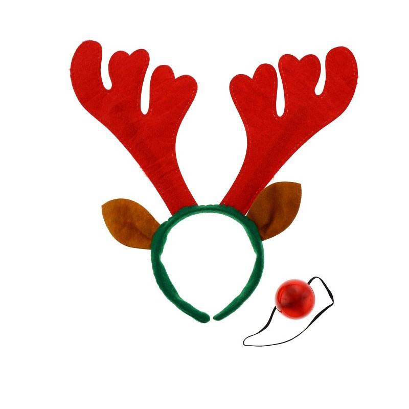 cerchietto natalizio con corna di renna rosse orecchie e naso NW-ORSN