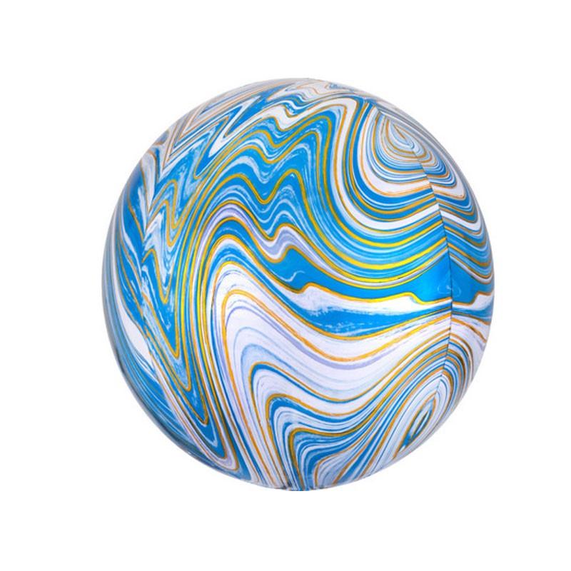 palloncino mylar orbz marmarizzato blu 16 - 4139401 38 x 40 cm