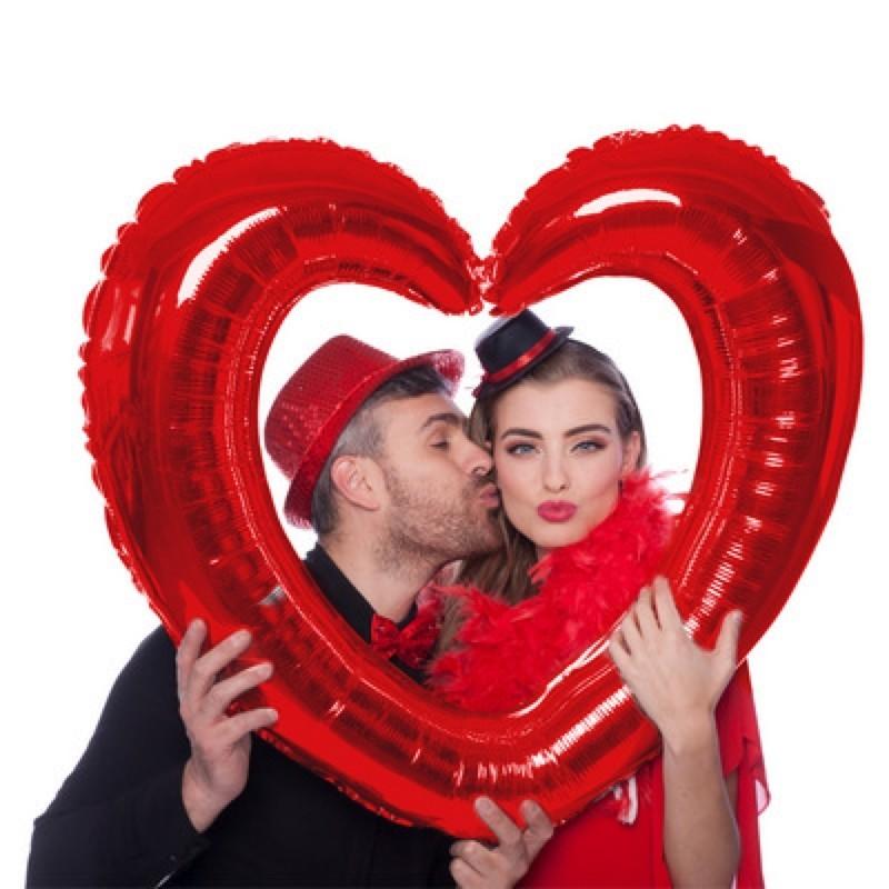 Pallone foil selfie 80 x 70 cm Cuore Rosso 61798