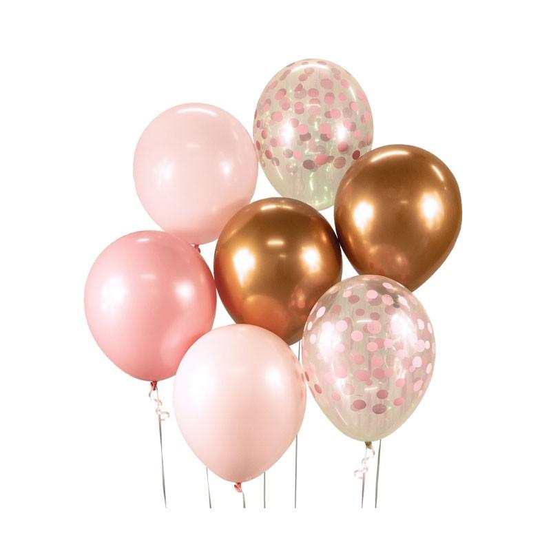 set 7 palloncini rosa e oro per comporre un bouquet 30 cm BB-RMD7