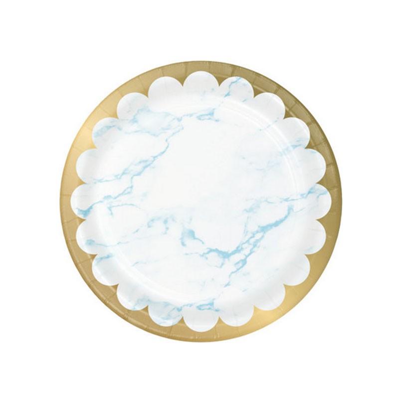 8 Piatti carta 23 cm metallizzato marmo azzurro 353970