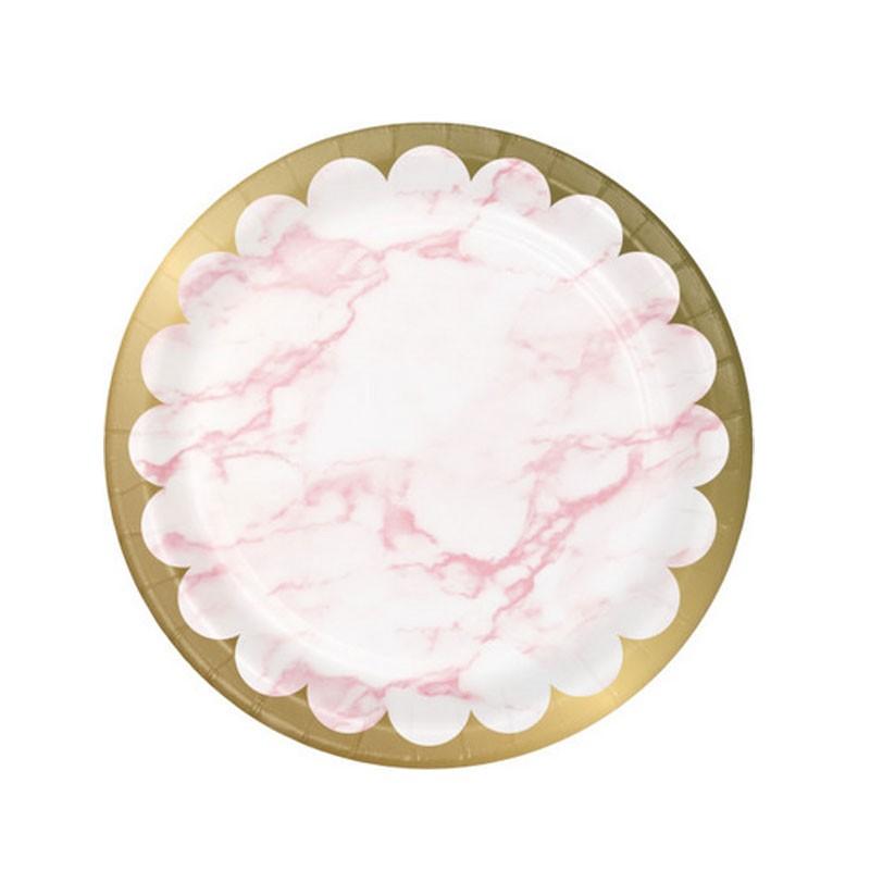 8 Piatti carta 23 cm metallizzato marmo rosa 353960