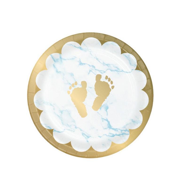 8 Piatti dessert in carta 18 cm metallizzato marmo azzurro con piedini  353972