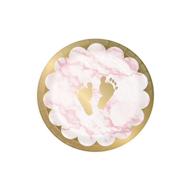 8 Piatti dessert in carta 18 cm metallizzato marmo rosa con piedini 353962