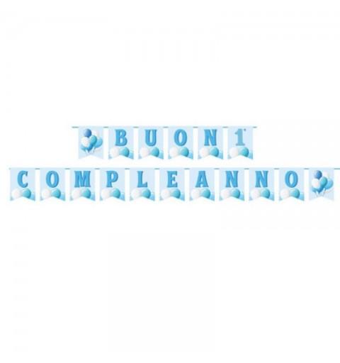 Festone buon primo compleanno azzurro palloncini 17 bandierine carta L.15 x H.20 cm 130006