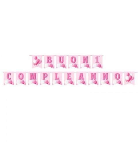 Festone buon primo compleanno rosa palloncini 17 bandierine carta L.15 x H.20 cm 130007