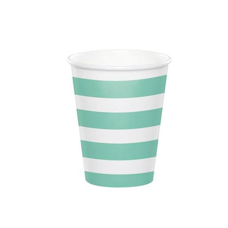 bicchieri strisce e pois verde menta 8 pz. 344485