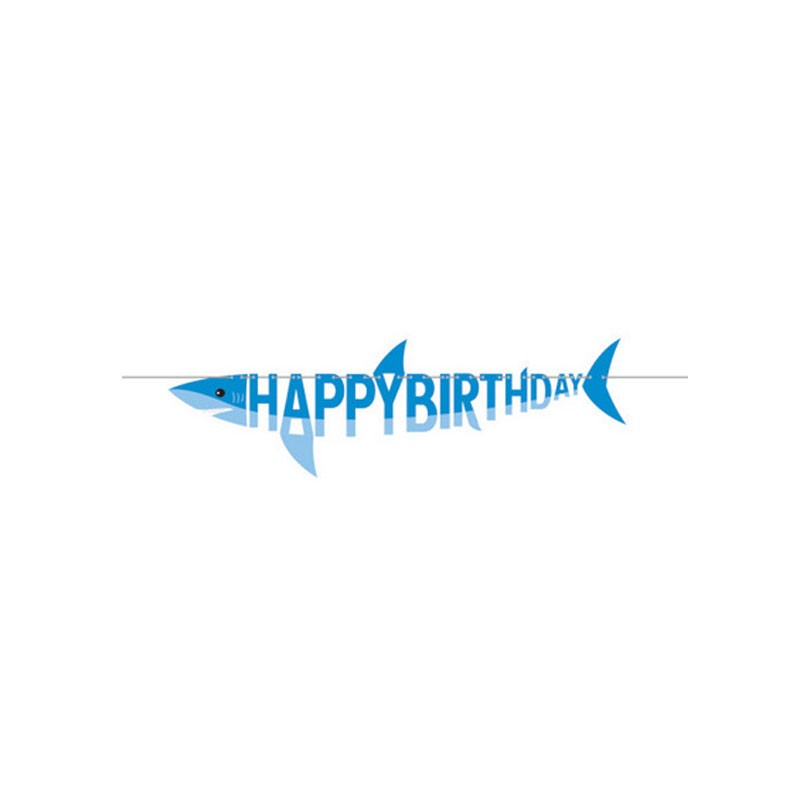festone Striscione a forma di squalo Blu 350503 1,7 m
