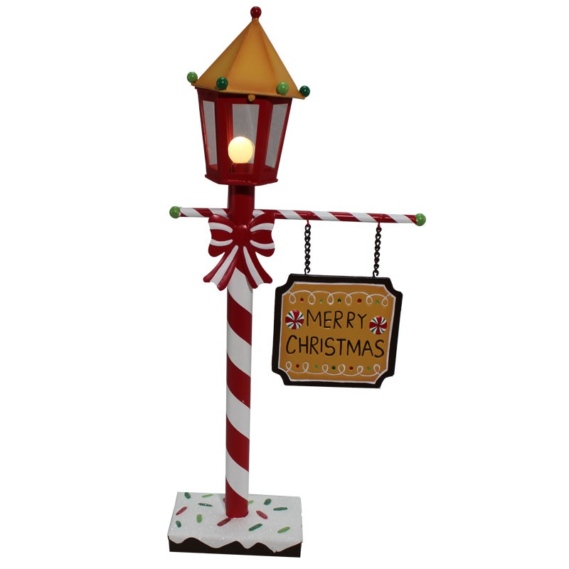 Lampione con luce in metallo Pan di zenzero 61660 26 x 10 x 50 cm